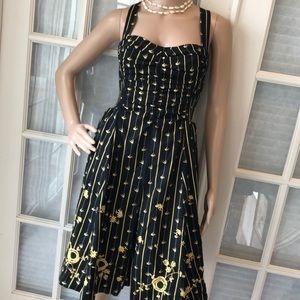 Anthropologie Moulinette Soeurs blk/yellow dress